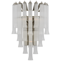 Lorelei Large Waterfall Sconce in Polished Nickel with Clear Glass