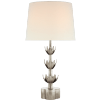 Alberto Large Triple Table Lamp in Burnished Silver Leaf with Linen Shade