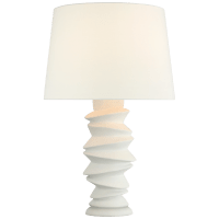 Karissa Medium Table Lamp in Plaster White with Linen Shade