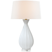 Treviso Large Table Lamp in White with Linen Shade