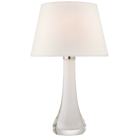 Christa Large Table Lamp in White Glass with Linen Shade