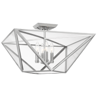Lorino Large Semi-Flush Mount in Polished Nickel with Clear Glass