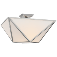 Lorino Large Semi-Flush Mount in Polished Nickel with White Glass