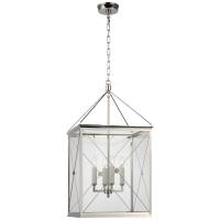 Rossi Medium Lantern in Polished Nickel with Clear Glass