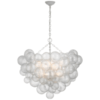 Talia Grande Chandelier in Plaster White with Clear Swirled Glass