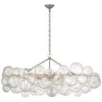 Talia Medium Linear Chandelier in Burnished Silver Leaf with Clear Swirled Glass