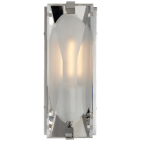 Castle Peak Small Bath Sconce in Polished Nickel with Etched Clear Glass