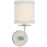 Walker Small Sconce in Burnished Silver Leaf with Cream Linen Shade