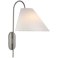 Kinsley Large Articulating Wall Light in Polished Nickel with Linen Shade