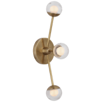 """Alloway 19"""" Triple Linear Sconce in Soft Brass with Clear Glass"""