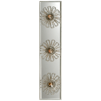"""Keaton 18"""" Floral Vanity Light in Burnished Silver Leaf and Mirror"""