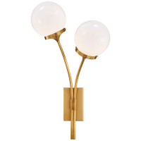 Prescott Right Sconce in Soft Brass with White Glass