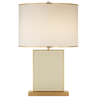 Bradford Large Table Lamp in Cream and Soft Brass with Cream Linen Shade with Soft Brass Trim