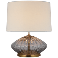 Everleigh Medium Fluted Table Lamp in Smoked Glass with Linen Shade