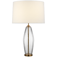 Everleigh Large Fluted Table Lamp in Clear Glass with Linen Shade