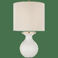 Albie Small Desk Lamp in New White with Cream Linen Shade