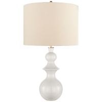 Saxon Large Table Lamp in New White with Cream Linen Shade