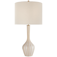 Parkwood Large Table Lamp in Natural Bisque and New White with Linen Shade