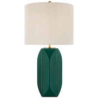 Carmilla Medium Table Lamp in Emerald Crackle with Linen Shade