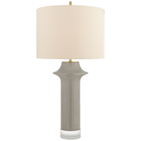 Giry Large Peaked Table Lamp in Shellish Gray with Linen Shade