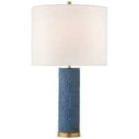 Clary Large Table Lamp in Denim with Linen Shade