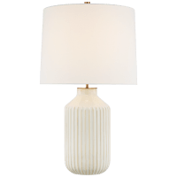 Braylen Medium Ribbed Table Lamp in Ivory with Linen Shade