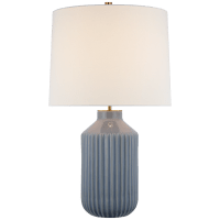 Braylen Medium Ribbed Table Lamp in Polar Blue Crackle with Linen Shade
