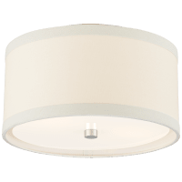 Walker Small Flush Mount in Burnished Silver Leaf with Cream Linen Shade
