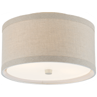 Walker Small Flush Mount in Light Cream with Natural Linen Shade
