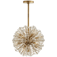 Dickinson Small Chandelier in Soft Brass with Clear Glass and Cream Pearls