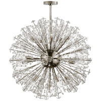 Dickinson Large Chandelier  in Polished Nickel with Clear Glass and Cream Pearls