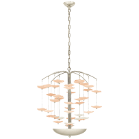 Leighton Medium Cascading Chandelier in Polished Nickel with Blush Tinted Glass
