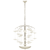 Leighton Medium Cascading Chandelier in Polished Nickel with Cream Tinted Glass