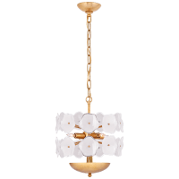Leighton Small Chandelier in Soft Brass with Cream Tinted Glass
