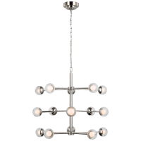 Alloway Small Barrel Chandelier in Polished Nickel with Clear Glass