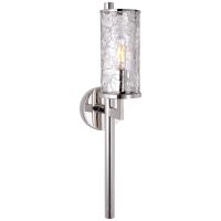 Liaison Single Sconce in Polished Nickel with Crackle Glass