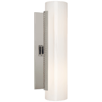 Precision Cylinder Sconce in Polished Nickel with White Glass