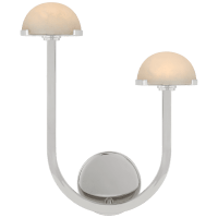 """Pedra 15"""" Asymmetrical Right Sconce in Polished Nickel with Alabaster"""