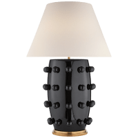 Linden Table Lamp in Black with Linen Shade