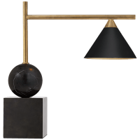 Cleo Desk Lamp in Bronze and Antique-Burnished Brass with Black Shade