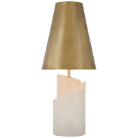 Topanga Medium Table Lamp in Alabaster with Antique-Burnished Brass Shade