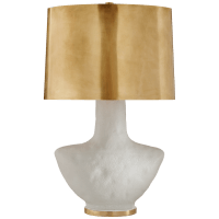 Armato Small Table Lamp in Porous White Ceramic with Oval Antique-Burnished Brass Shade