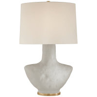 Armato Small Table Lamp in Porous White Ceramic with Oval Linen Shade