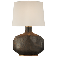 Beton Large Table Lamp in Crystal Bronze Ceramic with Linen Shade
