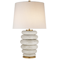 Phoebe Stacked Table Lamp in Antiqued White with Linen Shade