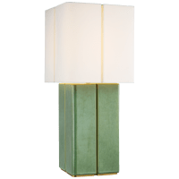 Monelle Medium Table Lamp in Evergreen with Linen Shade