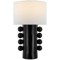 Tiglia Tall Table Lamp in Black with Linen Shade