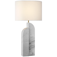 Savoye Left Table Lamp in White Marble with Linen Shade