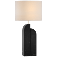 Savoye Large Table Lamp in Black Marble with Linen Shade