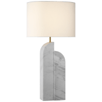 Savoye Large Table Lamp in White Marble with Linen Shade